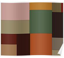 Abstraction #156 Green Orange pink blocks Poster