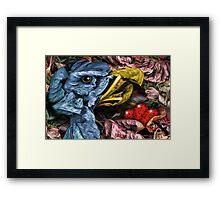 Blue Bird Guarding the Red Eggs Framed Print