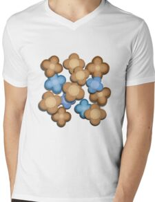 Brown and Blue Flowers Mens V-Neck T-Shirt