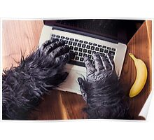 Gorilla on a Mac Poster