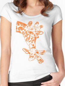 Giraffe Orange Women's Fitted Scoop T-Shirt