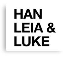 HAN, LEIA & LUKE Canvas Print