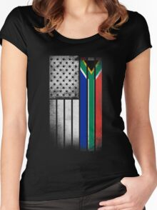 South African American Flag Women's Fitted Scoop T-Shirt