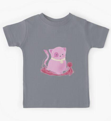 Muffin - Kawaii Pink Yarn Kitty! Kids Tee