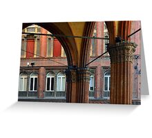 Street in Bologna with red buildings and portico Greeting Card