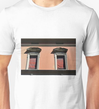 Two classical windows on a red wall in Bologna Unisex T-Shirt
