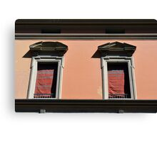 Two classical windows on a red wall in Bologna Canvas Print