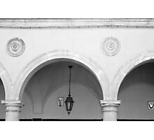 Beautiful round arches with columns in San Marino Photographic Print