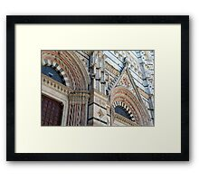 Architectural details of the cathedral from Siena, Italy Framed Print