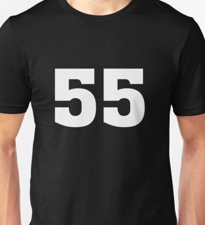 #55 Sports Team Jersey Number Front & Back Player Unisex T-Shirt