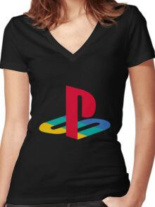 Playstation One Emblem Women's Fitted V-Neck T-Shirt