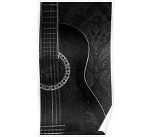 Monochrome Acoustic Guitar Poster