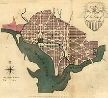 Vintage Map of Washington D.C. (1793) by BravuraMedia