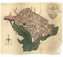 Vintage Map of Washington D.C. (1793) Poster