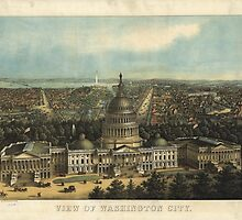 Vintage Pictorial Map of Washington D.C. (1871) by BravuraMedia