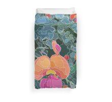 Botanicals - Orange Magenta Flower Line Art Duvet Cover