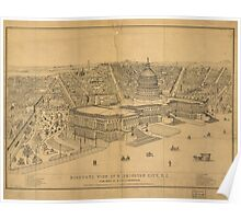 Vintage Pictorial Map of Washington D.C. (1872) Poster