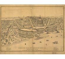 Vintage Pictorial Map of Washington D.C. (1872) Photographic Print