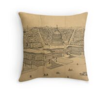 Vintage Pictorial Map of Washington D.C. (1872) Throw Pillow