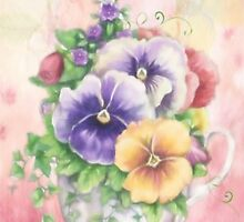 Pansies in a cup by Catherine Hamilton-Veal  ©