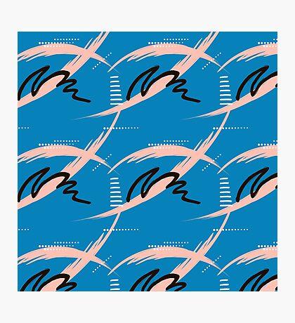 Blue brush pattern Photographic Print