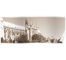 Cathedral Notre Dame de Paris -sepia tone Poster