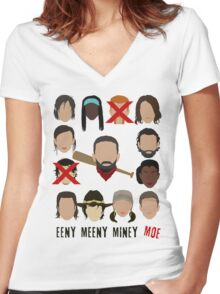 Negan - Eeny Meeny Miney Moe Women's Fitted V-Neck T-Shirt