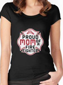 Mom - Proud Mom Of A Firefighter Women Gift For Mum T-shirts Women's Fitted Scoop T-Shirt