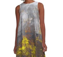 yellow grey abstraction A-Line Dress