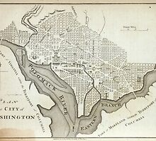 Vintage Map of Washington D.C. (1794) by BravuraMedia