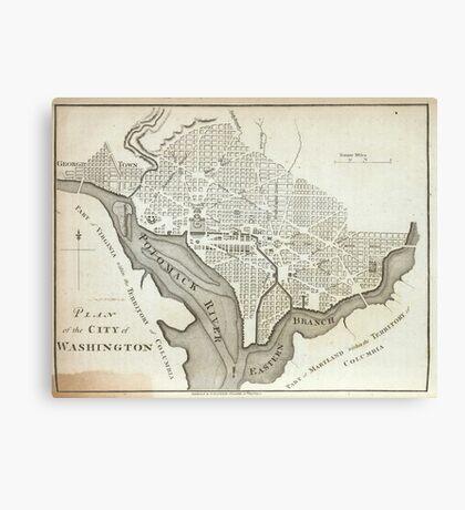 Vintage Map of Washington D.C. (1794) Canvas Print