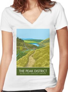 The Peak District, William Clough, Derbyshire Women's Fitted V-Neck T-Shirt