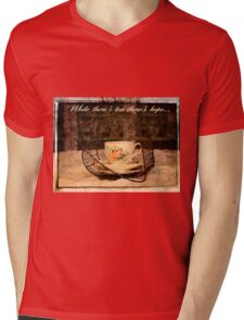 'While There's Tea there's hope' typography on vintage tea cup and saucer photograph Mens V-Neck T-Shirt