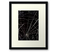 dramatic Intricate spider web on black background  Framed Print