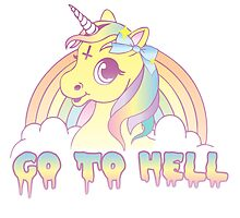 """""""Go To Hell"""" Mean Unicorn (pastel) by Amy Grace"""