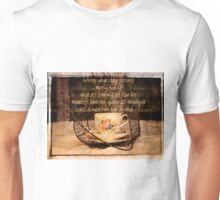 'When your day seems Topsy Turvy...' typography on vintage tea cup and saucer photograph Unisex T-Shirt