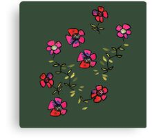 flowers on dark green Canvas Print