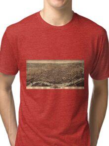 Vintage Pictorial Map of Wilmington DE (1874) Tri-blend T-Shirt