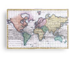 Vintage Map of The World (1780) Metal Print