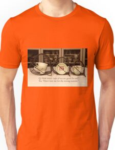 'How many cups of Tea are good for me' typography on vintage tea cup and saucer photograph Unisex T-Shirt