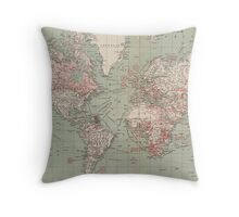 Vintage Map of The World (1918)  Throw Pillow
