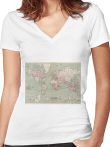 Vintage Map of The World (1918)  Women's Fitted V-Neck T-Shirt