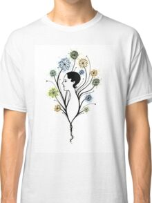 """Flora"", floral art, girl's profile, flowers, ink &  watercolor Classic T-Shirt"