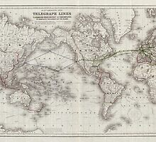 Vintage World Telegraph Lines Map (1855) by BravuraMedia