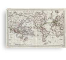 Vintage World Telegraph Lines Map (1855) Canvas Print