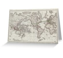 Vintage World Telegraph Lines Map (1855) Greeting Card