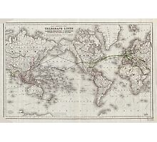 Vintage World Telegraph Lines Map (1855) Photographic Print