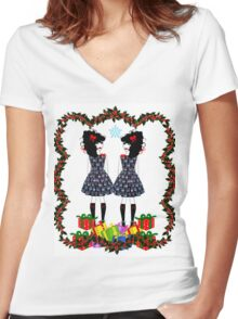 Lolita Whovian twins do Christmas Women's Fitted V-Neck T-Shirt