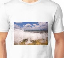 Lone fisherman at low tide on a beach  Unisex T-Shirt