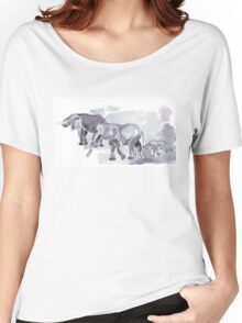 There are elephants marching... Women's Relaxed Fit T-Shirt